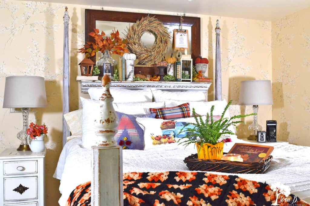 Fall decorated bedroom with natural accents.