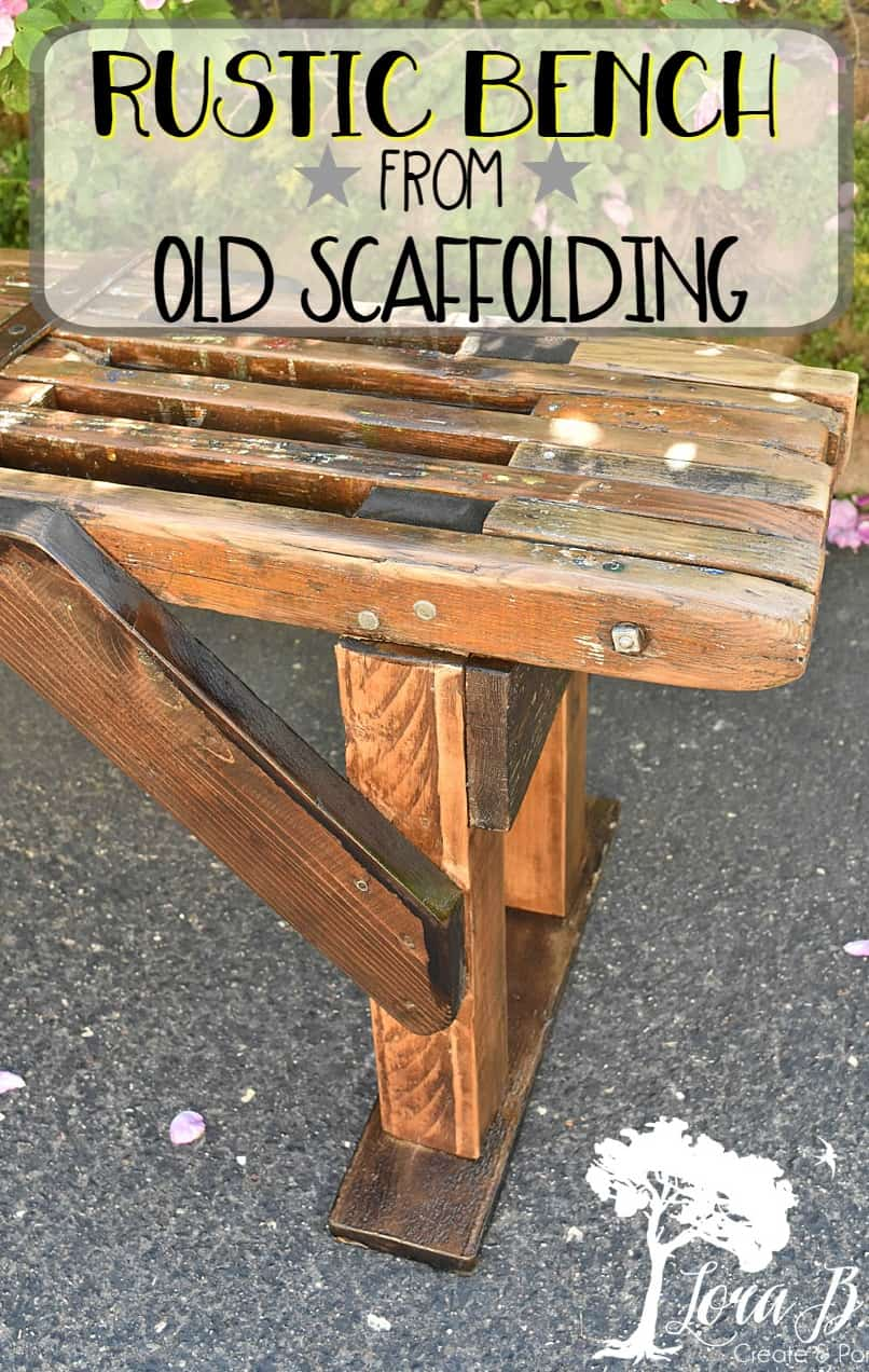Create a re-purposed rustic bench from a vintage painter's scaffolding by following these steps. #repurposed #vintage #painter'sscaffolding #repurposedvintage #DIY #projects