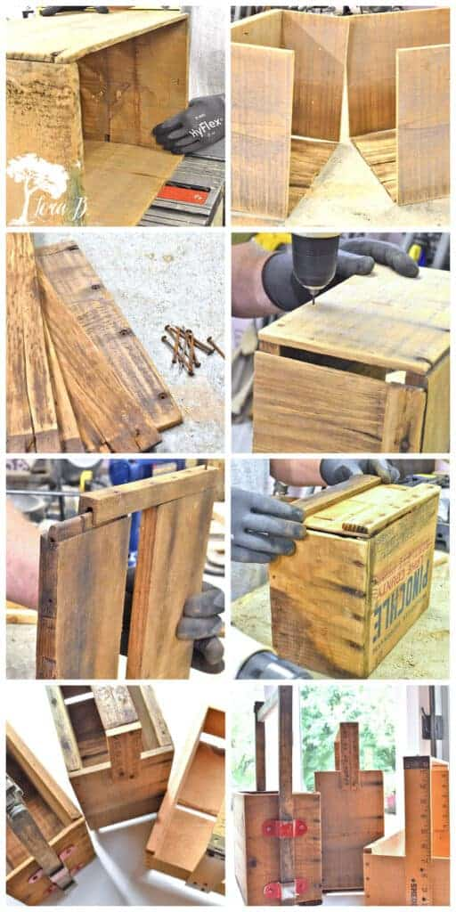 Directions for building a repurposed old wood crate tote caddy.