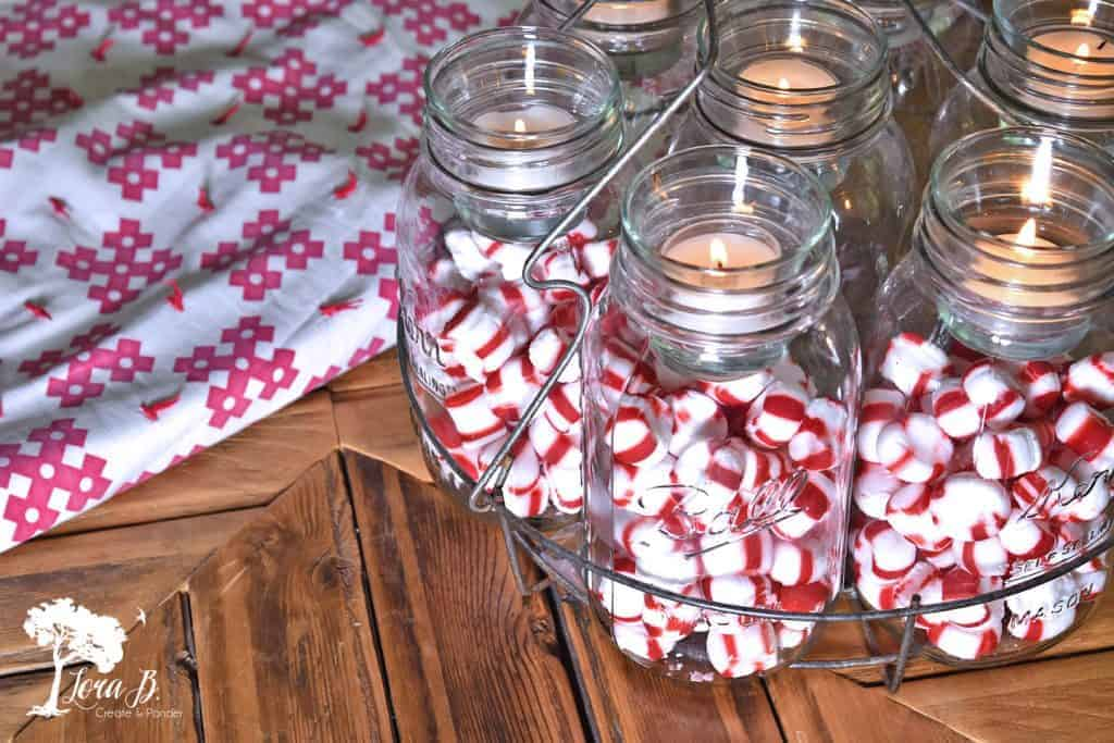 Christmas canning jar centerpiece