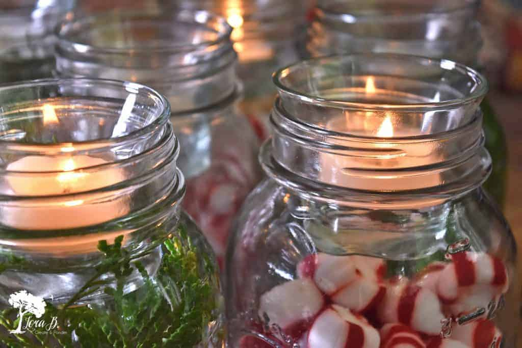 Christmas jar centerpiece