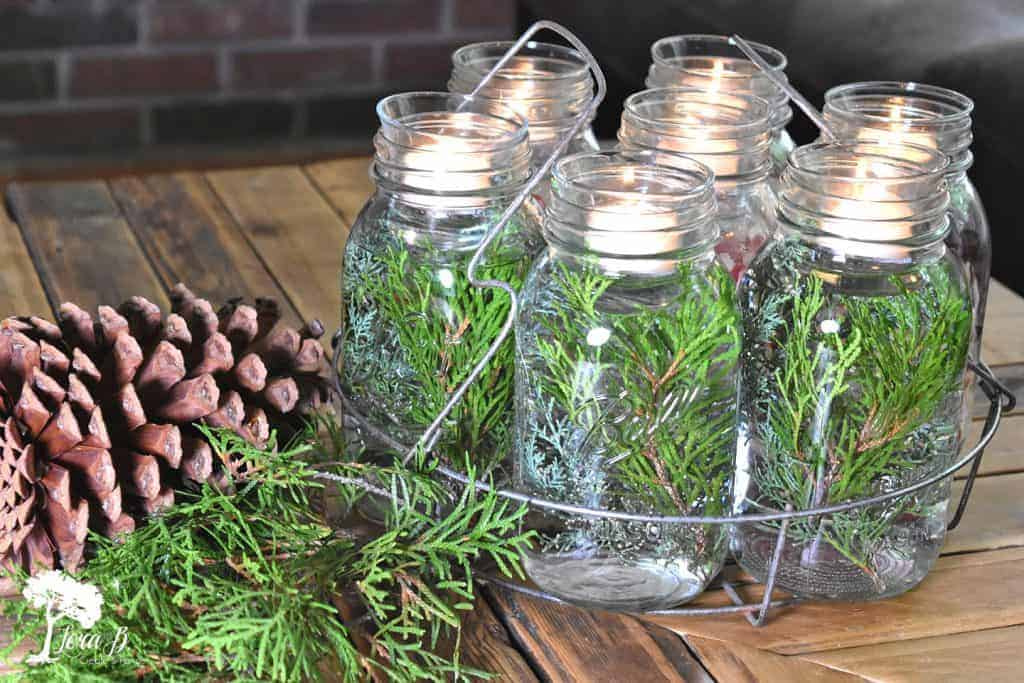 Winter canning jar centerpiece