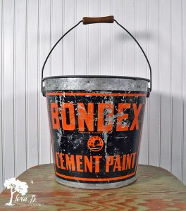 Vintage Galvanized Bucket with graphics