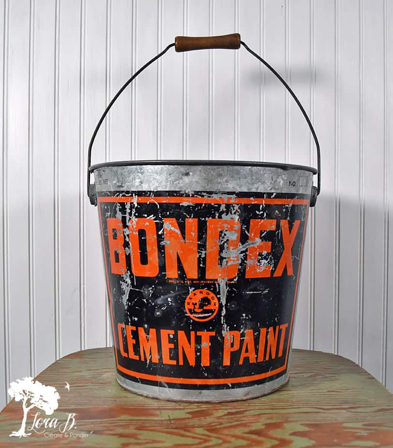 Vintage Galvanized Bucket with graphics