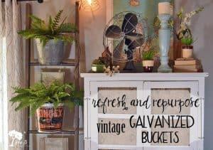 Old ladder with vintage galvanized buckets