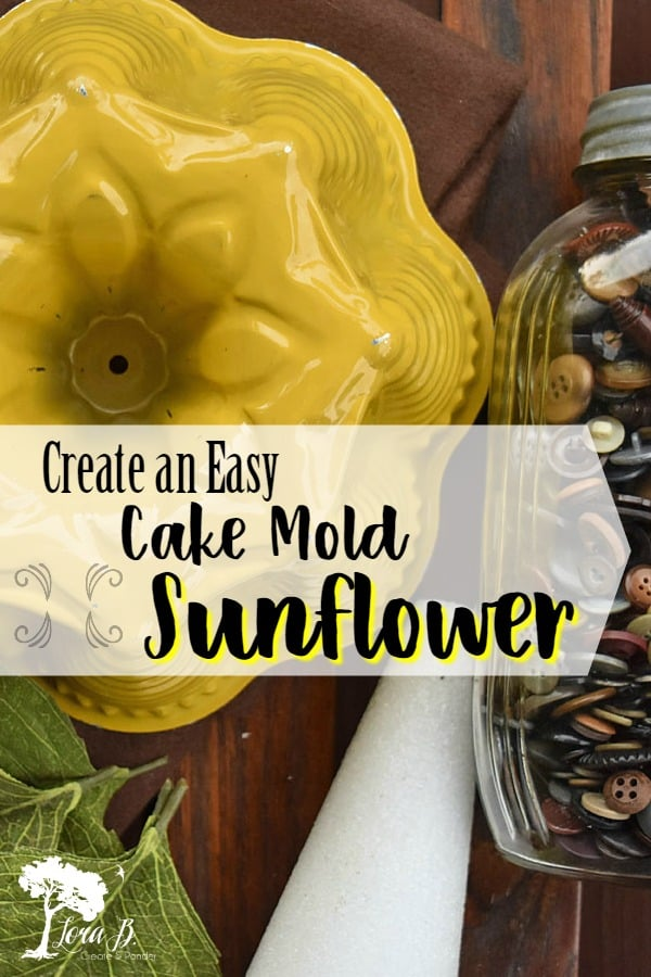 Create this easy, DIY Cake Mold Sunflower with just a few materials. Unique home decor for late summer/early fall home styling. How-to. #sunflower #vintage #DIY #bakeware #upcycled #repurposed #fallDIYcrafts #fallDIY #fallDIYdecor #autumndecor