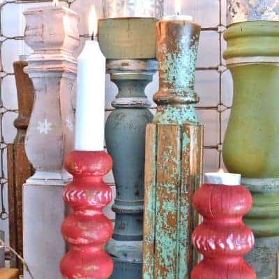 DIY Repurposed Candlesticks with Sheet Metal Shades