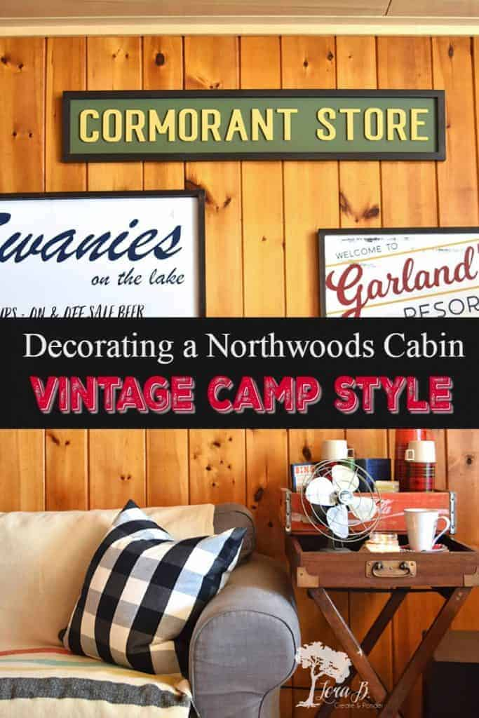 vintage camp decor in a Northwoods cabin