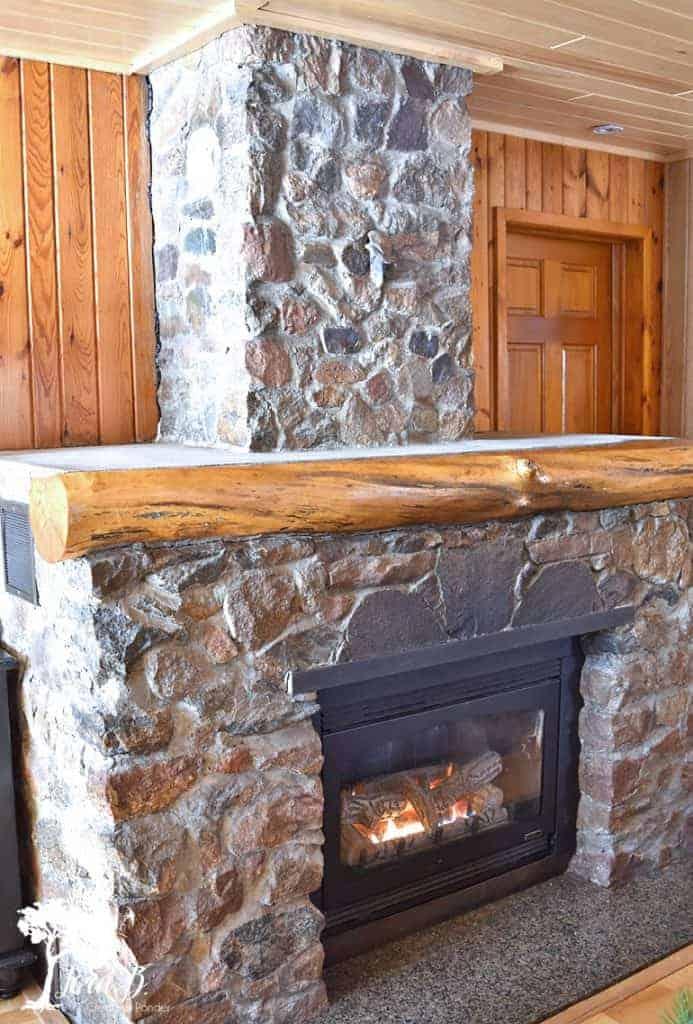 vintage cabin stone fireplace