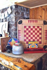 vintage games as cabin decor