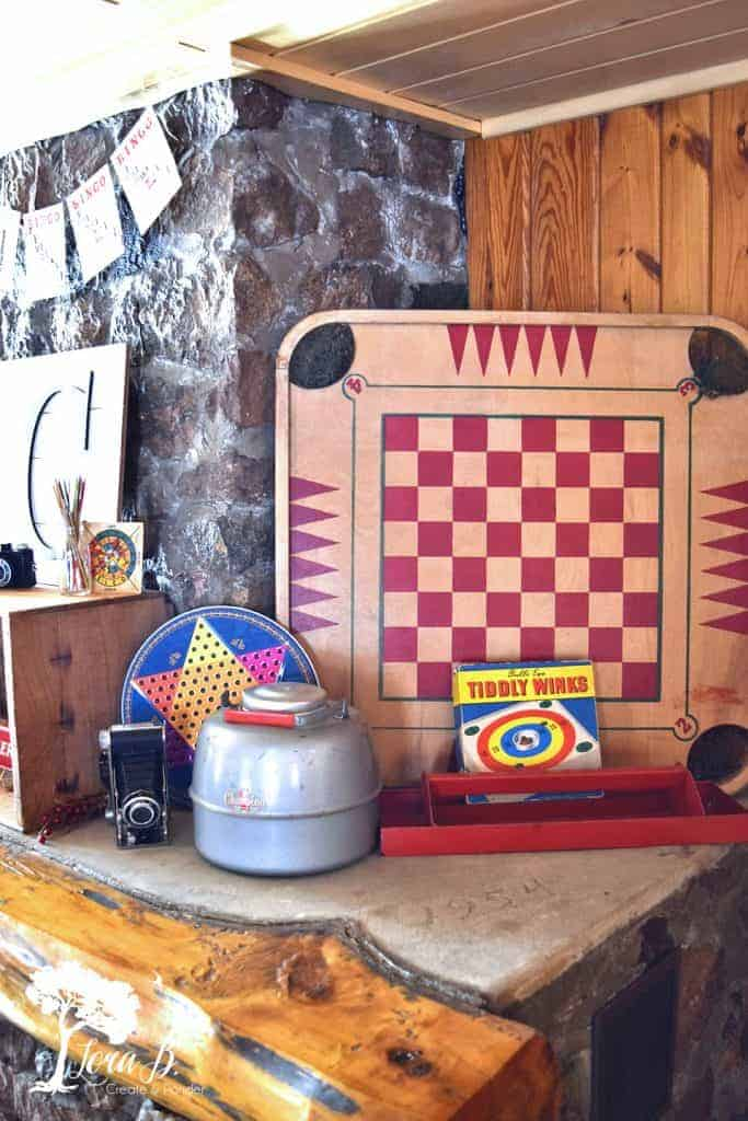 vintage games as cabin decor
