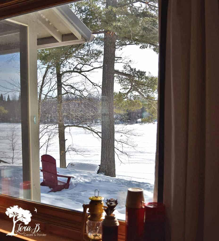 Northwoods cabin frozen lake view