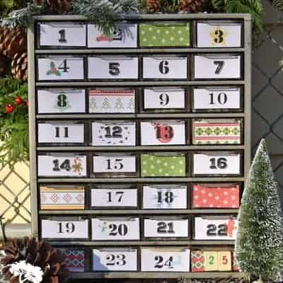 Repurposed Small Parts Organizer Advent Calendar