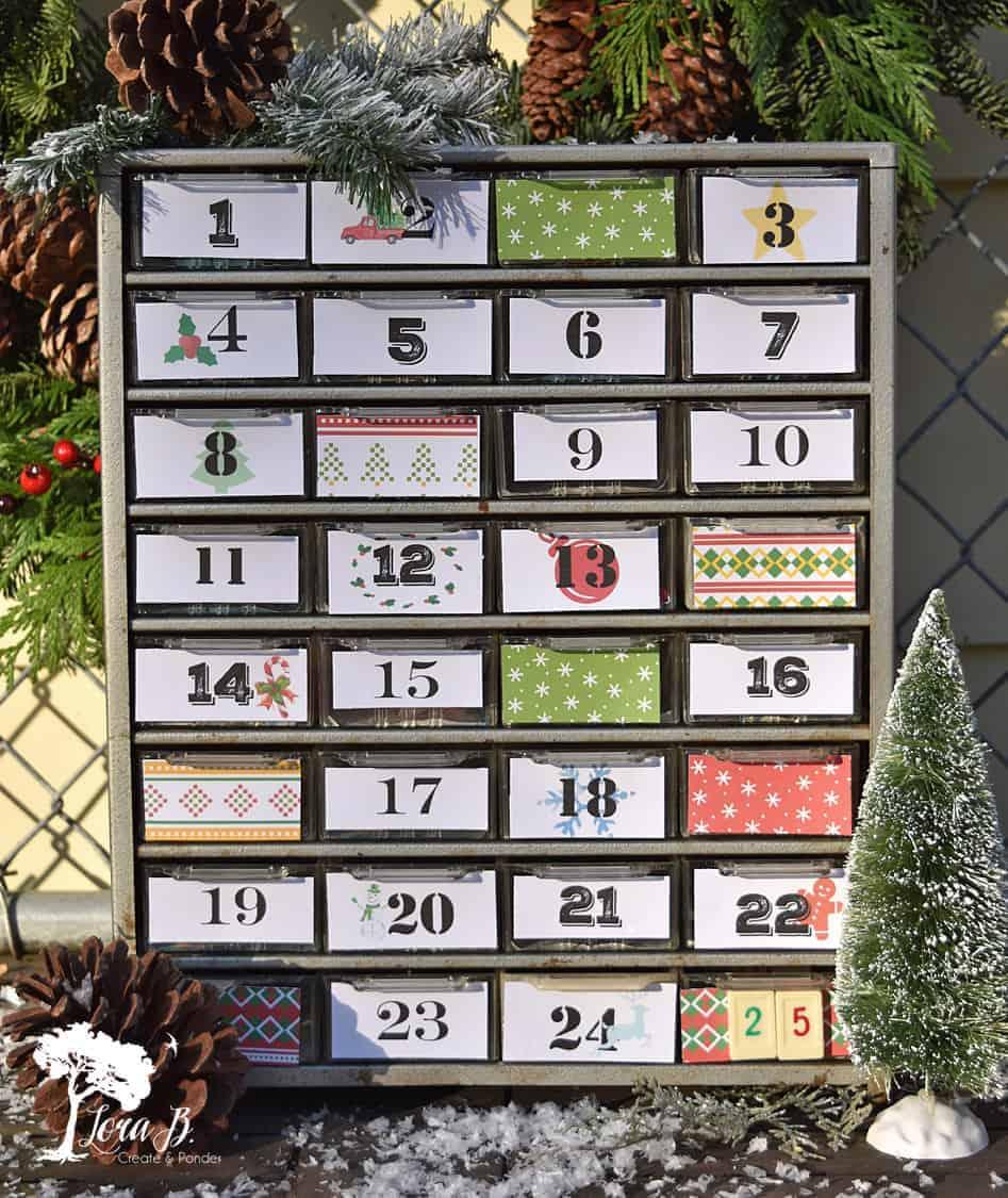 Repurposed Small Parts Organizer Advent Calendar