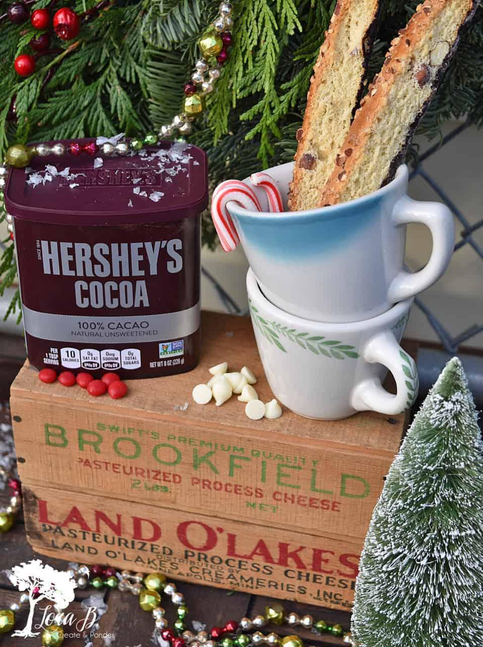 Create a Vintage Farmhouse-Style Christmas Hot Chocolate Bar