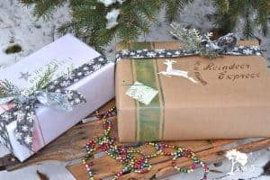 Christmas gift wrapping ideas with stencils