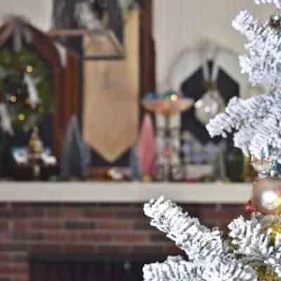 Christmas Mantel with Bottle Brush Trees