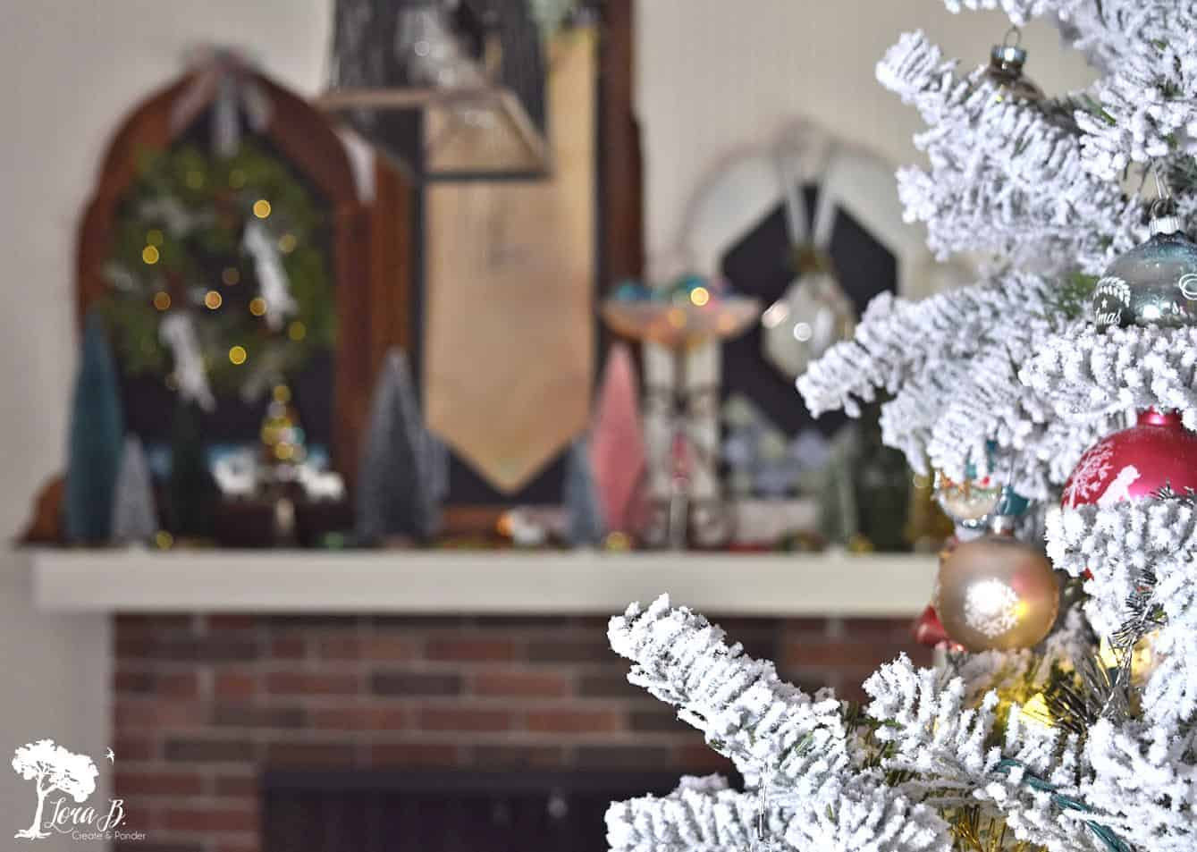 bottle brush tree mantel decor