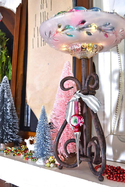bottle brush tree mantel decor