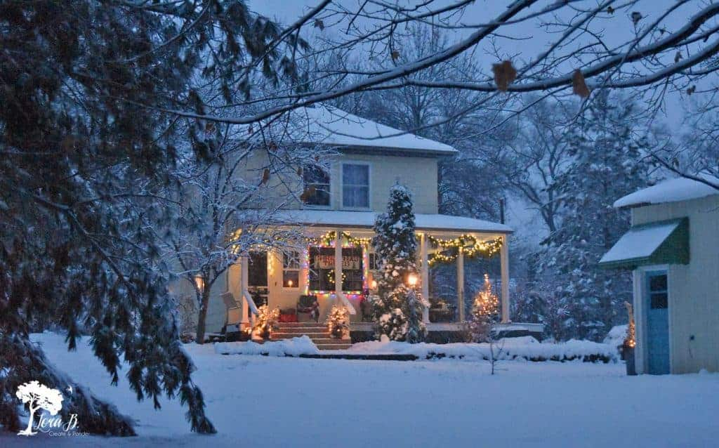 wintertime farmhouse