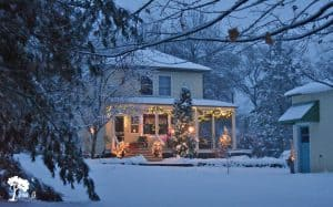 wintertime farmhouse
