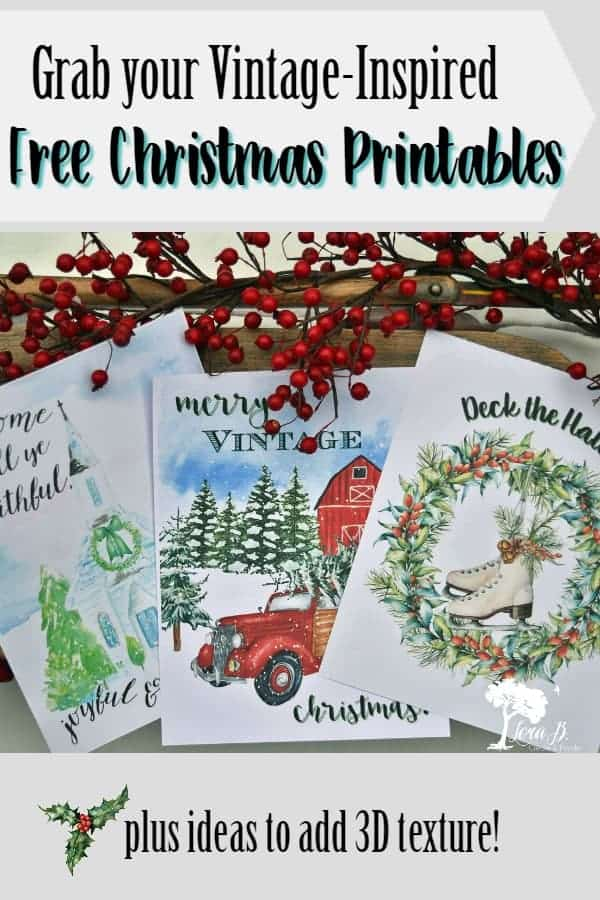 Get 3 free vintage inspired Christmas printables to decorate your holiday home. Ideas to add 3D texture for added interest, also. #Christmasprintables #freeprintables #homedecor #Holidaydecor #Christmashomedecor #ChristmasDIY #HolidayDIY #Christmascraftideas #Holidaycraftideas