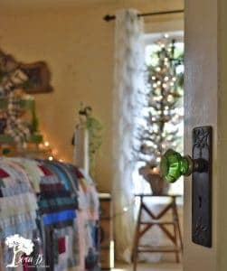 Christmas decorated bedroom with vintage