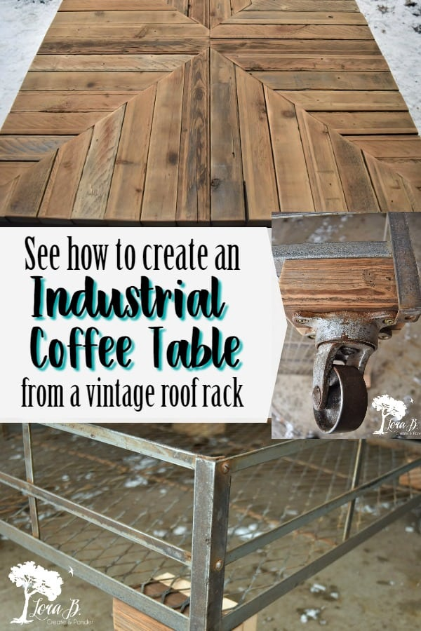 See how a vintage car roof rack becomes an industrial cool coffee table with some old wood and metal casters. Visual DIY provided. #DIYprojects #homedecorprojects #vintagerepurposed #repurposing #DIYcoffeetables #coffeetableideas #trashtotreasure #homedecor #industrialstyle #industrialcoffeetable #repurposed #repurposingideas #DIYrepurposing