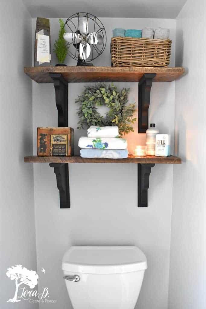 rustic shelves in bathroom