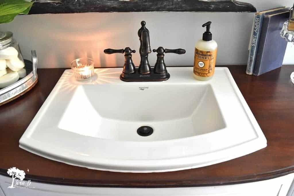 vintage buffet as bathroom vanity
