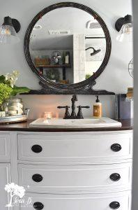 repurposed buffet bathroom vanity