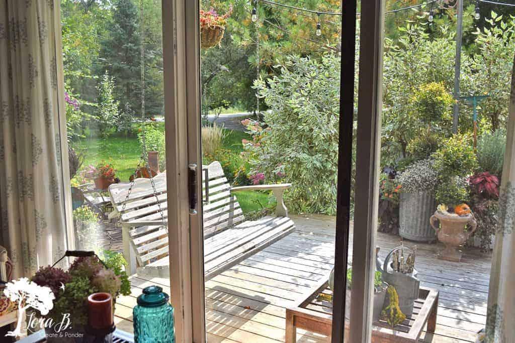 swinging bench on porch