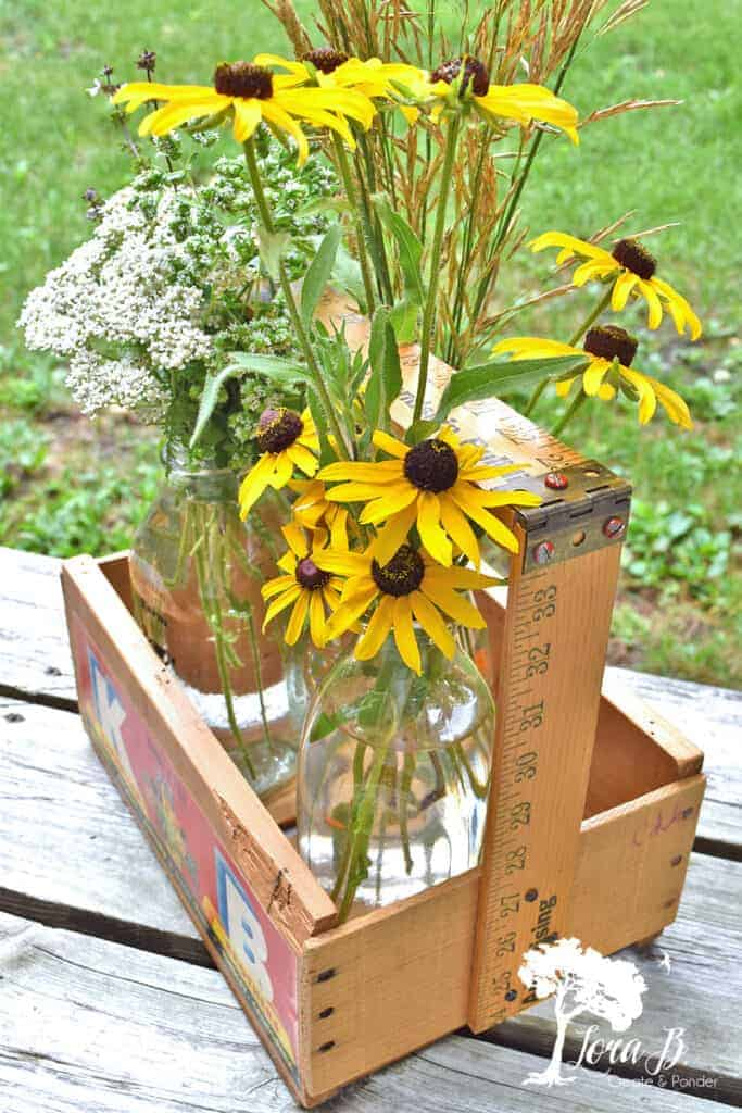 DIY repurposed old wood crate tote caddys.