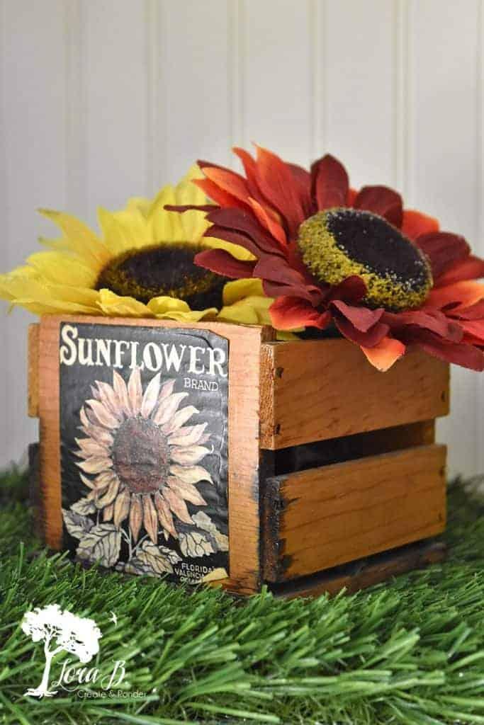 vintage sunflower crate