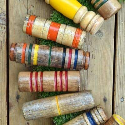 Repurposed Croquet Mallet Head Wreath