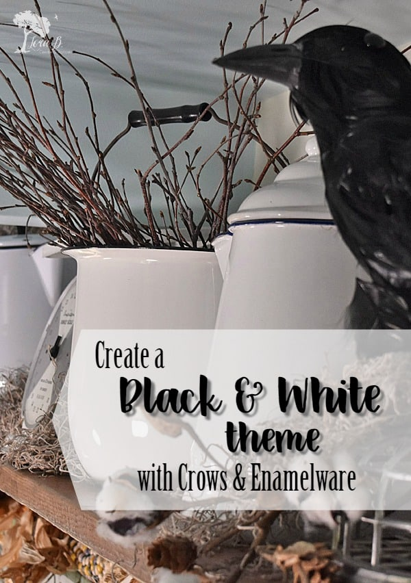 Fall decorating can be more unique when you incorporate vintage finds. Crows and enamelware create a black and white theme in this entryway. Adding texture adds to the appeal. #falldecor #vintage #collections #autumndisplay #decoratingwithcrows #repurposedbedsprings #halloweendecor #farmhouse #blackandwhitedecor #entrywaydecor