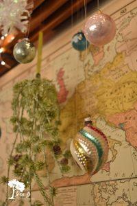 vintage map Christmas display