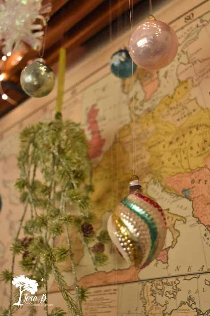 vintage map Christmas display