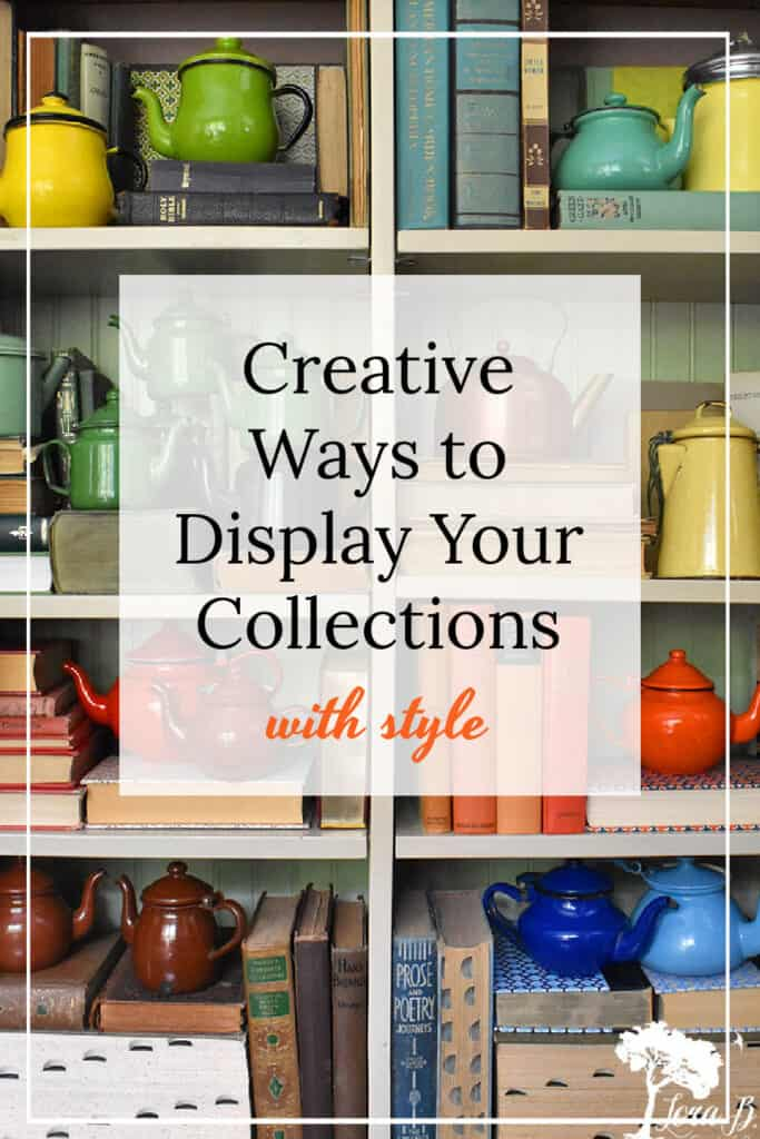 Creative tips for displaying collections like these vintage enamelware teapots.