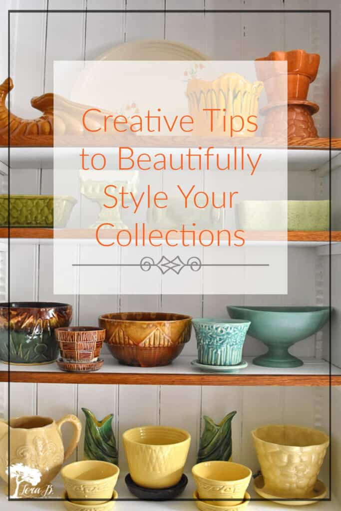 Creative tips for displaying collections like this colorful vintage pottery.