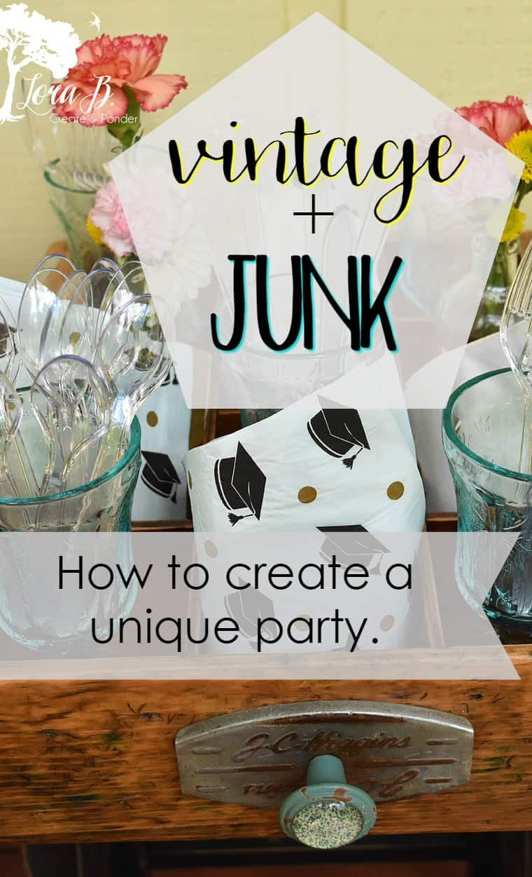 Use refreshed and re-purposed vintage junk items to create a unique and memorable party. From organizing your serveware, serving your food or creating centerpieces, here are some ideas to get you started. #partyplanning #vintageparty #refreshedjunk #repurposedvintage #repurposedjunk #partydecor