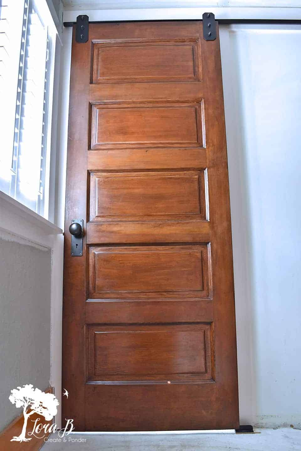 vintage 5 panel door on bathroom