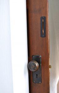 vintage slider door on bathroom