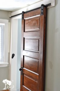 vintage slider door on bathroom