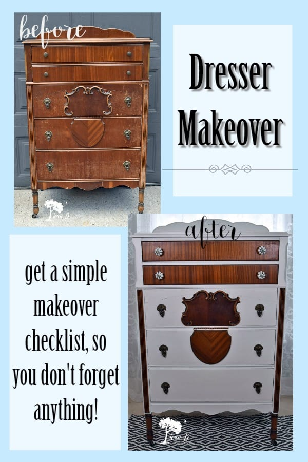 Check out this before and after Dresser Makeover. Learn DIY refreshing tips with a Dresser Makeover Checklist, from an experienced furniture seller. #beforeandafter #furnituremakeover #dressermakeover #DIY #paintingfurnitureideas #vintage #vintagerefresh #vintagedresser #refreshed