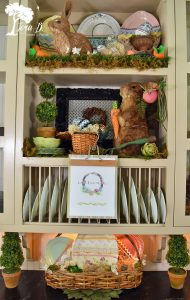 Easter decorated shelves