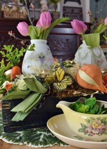Vintage, Organic Easter Centerpiece