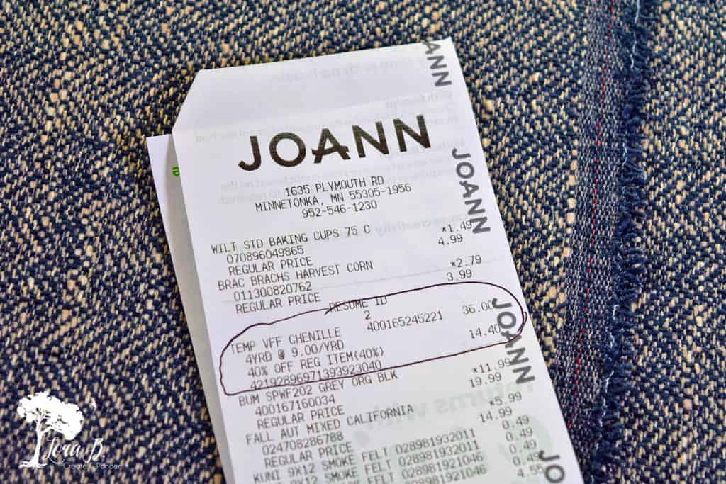 fabric store receipt