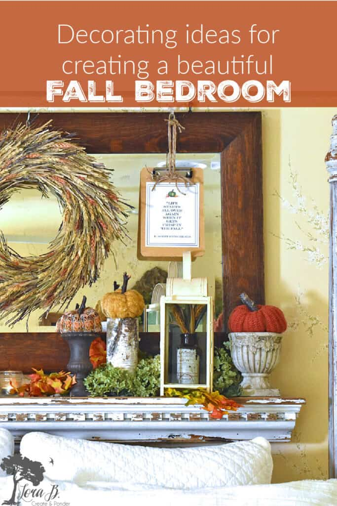 Natural accents add to the beauty of this Fall decorated bedroom.