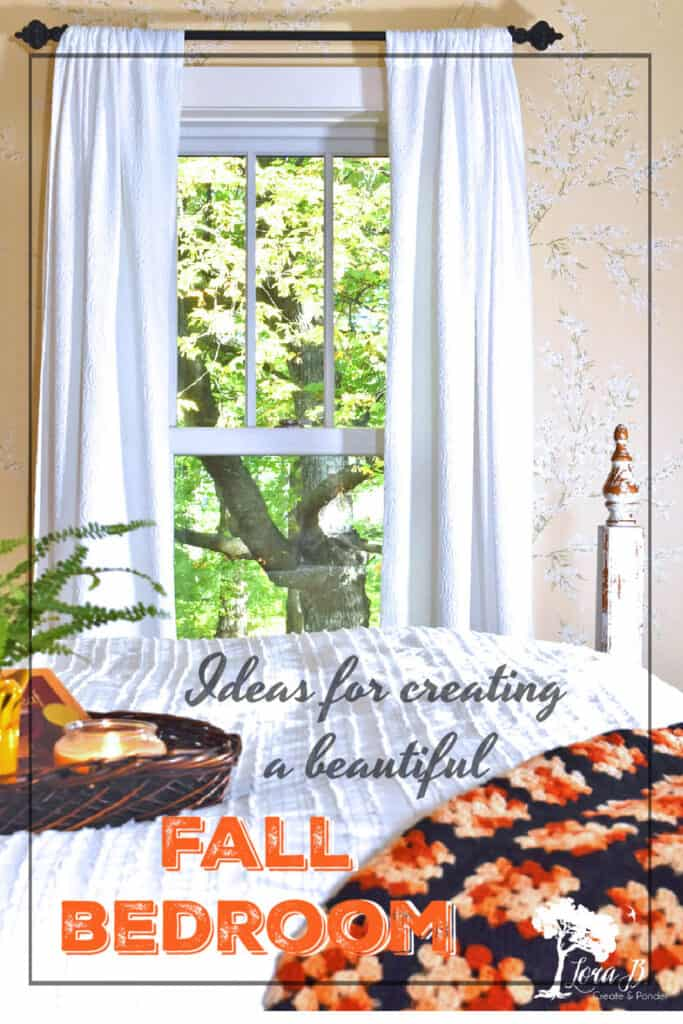 Fall decoated bedroom with natural accents and vintage finds.